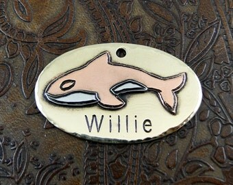 Custom Dog Killer Whale - ID Tag - Personalized Dog Collar Tag, Pet ID Tag - Handmade Dog Collar Tag