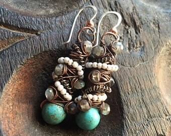 Tangled earrings, Copper, Silver, Magnesite Turquoise, seed Pearls, and Labradorite, ThePurpleLilyDesigns