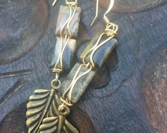 Silverleaf  Drops, Silverleaf Jasper, and Brass earrings, ThePurpleLilyDesigns