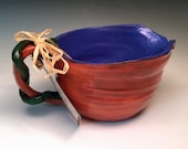 Royal Blue Berry Bowl with Hand Dug Earthenware Red Clay