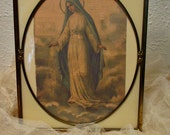 RESERVED....SOLD....Vintage Easel Frame - Reverse Painting - Metal Frame Art Deco - Painted Glass - Home Decor