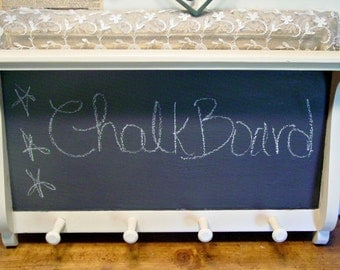 Wood Shelf Chalkboard - Plate Holder - Farmhouse Entry Note Shelf - Country Cottage - Wedding Accent - Mudroom Storage - Entryway Storage