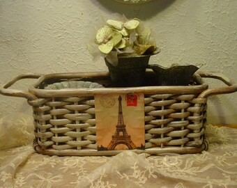 French Basket - Basket Tote - Galvanized Pots - French Inspired Home Decor - Farmhouse Chic - Rustic Decor