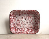 Pan, Roasting Pan Vintage Graniteware Enamel Pan Red White Splatter Rectangle Baking Dish