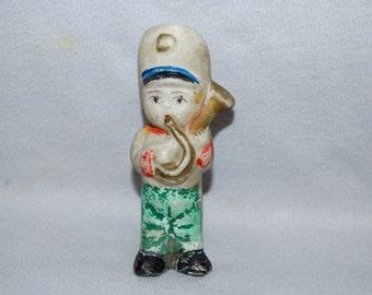 Vintage / Bisque / Doll / Band / Uniform / horn / frozen charlotte / penny doll / musical / instrument