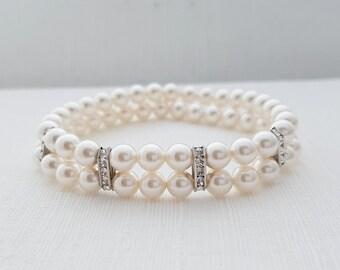 Pearl Bridal Bracelet, Double Strand Bracelet, Stretch Bracelet, Swarovski Pearls, Pearl Wedding Bracelet, Pearl Cuff Bracelet, Avalyn