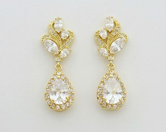 Gold Earrings Wedding Jewelry Gold Crystal Earrings Wedding Gold Earrings Bridal Jewelry Cubic Zirconia Wedding Jewelry Wavy