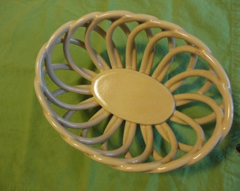 Vintage Woven Italian Ceramic Porcelain Bowl Basket