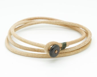 Mens natural triple wrap leather bracelet