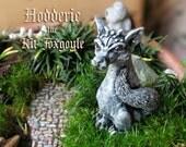 Hodderic the Kit Foxgoyle - Miniature Fantasy Gargoyle Fox Figurine - Faceted Crystal Eyes -Handmade and Hand-Painted Polymer Clay Sculpture