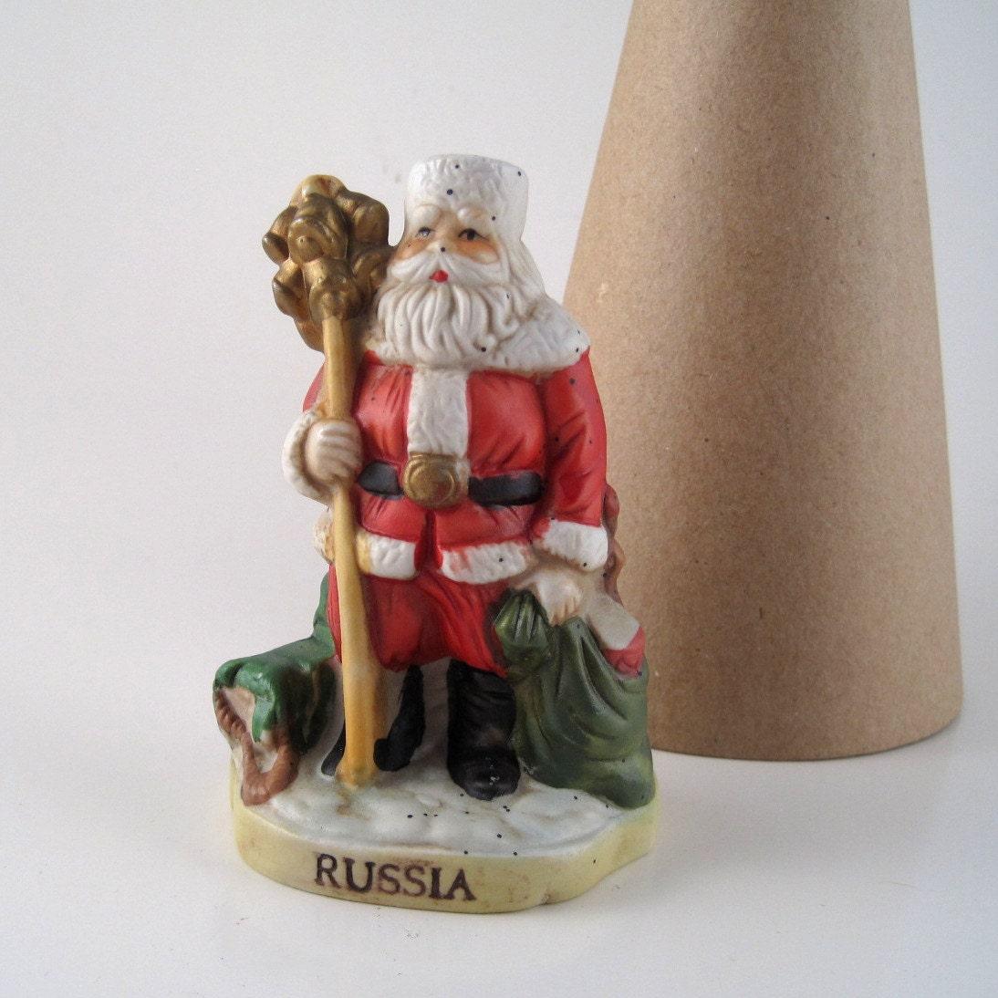 Vintage santa figurine bisque statue christmas decor