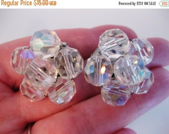 ON SALE Pretty Vintage Faceted Glass Aurora Borealis Beaded Earrings