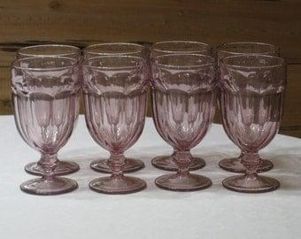 "Libbey ""Gibraltar"" Plum/Light Purple Set of 8 Goblets 16 Oz. Excellent"
