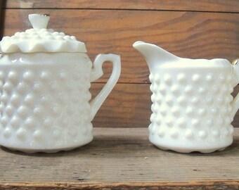 Antique milkglass creamer and sugar set/White milkglass with gilt trim/Fenton style creamer sugarwith gold trim