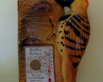 Vintage Chalkware Woodpecker Wall Plaque Thermometer