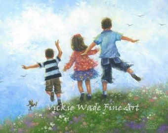Three Children Leaping Art Print 13X19 two boys and girl, two brother and sister, happy kids outdoors, childrens wall art, Vickie Wade art
