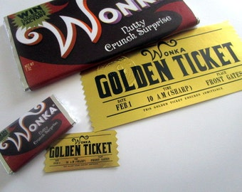 "Mini Modern Charlie & the Chocolate Factory Golden Ticket and Wonka Bar Prop Set for 18"" Dolls"