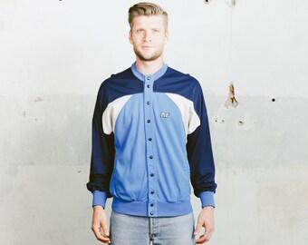 Vintage TRACK Jacket . 90s Men's Retro Sportswear Activewear Colourblock Rave Jacket Blue Snap Button Athleisure Bomber . Medium Large