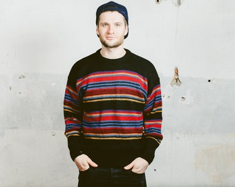 Mens 90s STRIPED Sweater . Southwestern Aztec Casual Sweater Pullover Jumper Multicolour 1990s Boyfriend Gift Hipster . Large