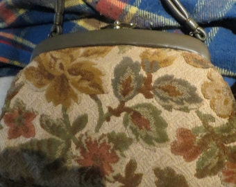 MID CENTURY 50-60s  JR Miami  brown tapestry handbag with coin purse