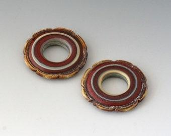 Rustic Ruffle Discs - (2) Handmade Lampwork Beads - Red Brown