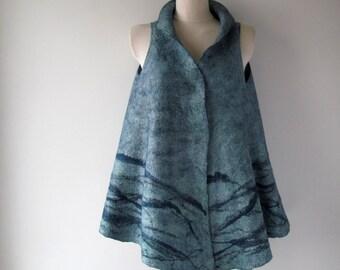 Felted vest women wool vest blue Jeans Felted vest  women wool  vest seamless blue  tunic felt vest wool women vest by Galafilc