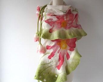 Nuno Felted scarf, Spring ruffle scarf, Nuno felted  collar, Pink white Wool scarf, Floral shawl red flower by Galafilc