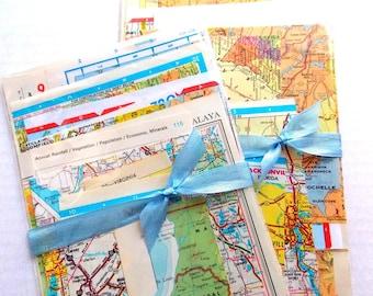 Vintage Map Ephemera Pack / Vintage Atlas / 15 Pieces / Paper Ephemera / Junk Journal / Daily Planner
