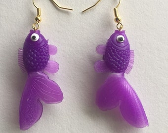 Purple Goldfish Earrings