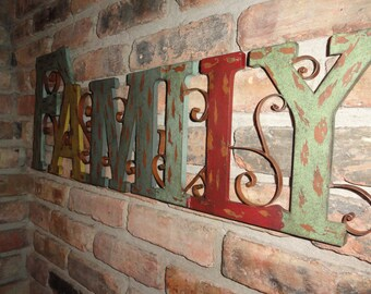 Family, Metal Wall Decor, Rustic Finish, Home Decor, Scroll Design, Wall