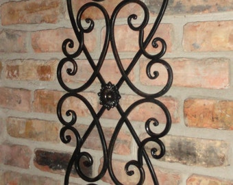 Distressed Black Metal Scroll Wall Decoration, Metal Decor, Wall Decor,  Cottage Chic,