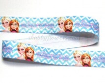 Frozen Chevron Sisters Fold Over Elastic- FOE , baby headband elastic, Wholesale Frozen  Elastic-SALE