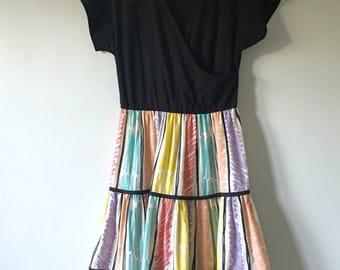 70s Black Colorful Dress • Cotton Blend Dress • Rare Retro Dress • 1970