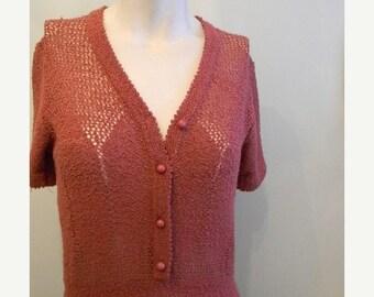ON SALE vintage. 70s Blush Pink Knit Dress / S to M