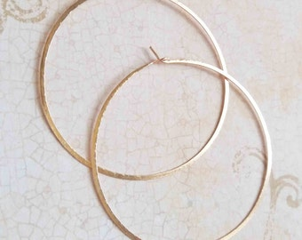 Solid 14k gold hoop earrings, Hammered gold hoops, Circle Hoop Earrings, Minimalist Earrings, Minimalist Jewelry, Modern Jewelry, Blue Wave