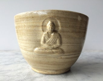 Buddha Tea Bowl Chawan Marbled Glazed Stoneware Art Vessel, Bas Relief Sculpture Cup Agate Ware
