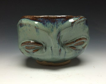 Venus' Eyes Tea Bowl, Celedon Chawan, Sculpture Art Pottery Cup Face Vessel