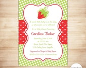 Strawberry Red Baby Shower Invitation - Baby Girl Shower - Berries Baby Shower Invite - EDiTABLE PDF - INSTANT DOWNlOAD