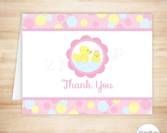 Pink Rubber Duck Thank You Card Template - Rubber Ducky Folded Thank You Card - Girl Baby Shower - Polka Dots - PRINTABLE, INSTANT DOWNlOAD