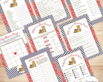 Game Shower Baby Cowboy Baby Shower Games Package, Country Western Baby Shower, 8 Printable Baby Shower Games, Navy & Red Paisley Gingham