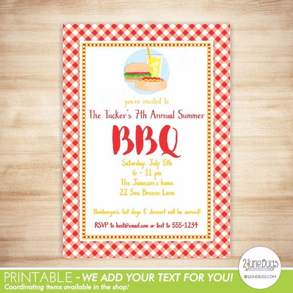 barbecue invitation bbq birthday party invitation summer cookout