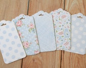 Blue Polka Dots Shabby Chic Floral Ornate Shape Deco Tags