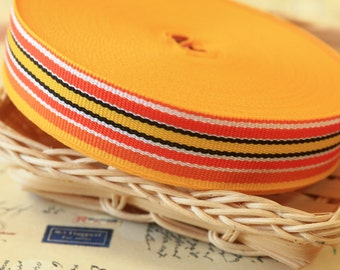 PADSTOW vibrant weave DECK CHAIR stripe mix orange & yellow ribbon