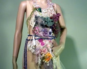 ELEGANT BODICE/APRON - Signature Accessory, Wearable Fiber Art, Freeform Crocheted & Embroidered