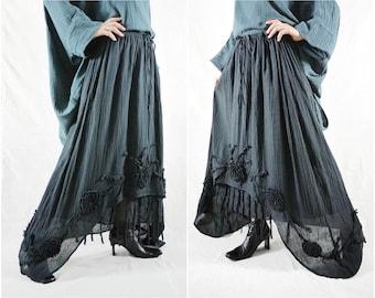 Plus Size Funky Boho Gpysy Hippie Floral Applique Black Double Layer Light Cotton skirt Size 8  To Size 22
