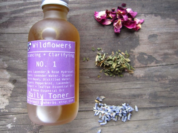 Wildflower Facial Toner No. 1 - Blemished, Oily,Combination Skin - Balancing and Clarifying -  Herbal Formula - Five Essential oils - 2 oz