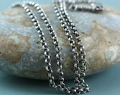 Sterling Silver Rolo Belcher Chain Necklace, Mens, Womens, Unisex, All Lengths, Antique Oxidized Patina or Bright 2.1mm For Charms Pendants