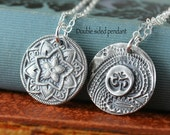 Yoga Jewelry, Mandala Necklace, Om symbol, North Star Eco Friendly Recycled Sterling Silver
