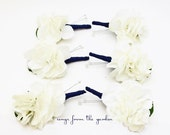 Navy White Silk White Hydrangea Boutonniere Buttonhole Groom Groomsmen Wedding Flower Package - Customize Your Wedding Colors