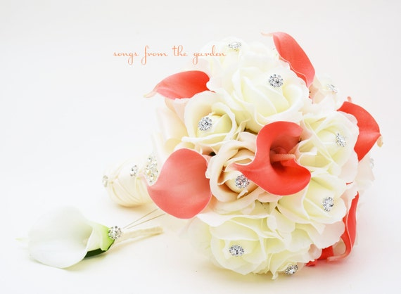 Coral White Real Touch Bridal Bouquet Calla Lilies Roses and Rhinestones With Groom's Boutonniere - White Coral Real Touch Bridal Bouquet
